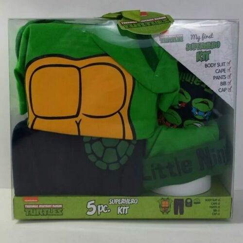My First Superhero Kit Teenage Mutant Ninja Turtles 5 Pc Baby Set 0-6 month New