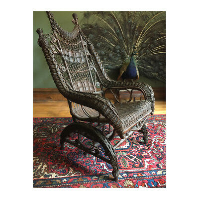 Strange High Back Victorian Wicker Platform Rocking Chair Heywood Wakefield Real Antique Ebay Gmtry Best Dining Table And Chair Ideas Images Gmtryco