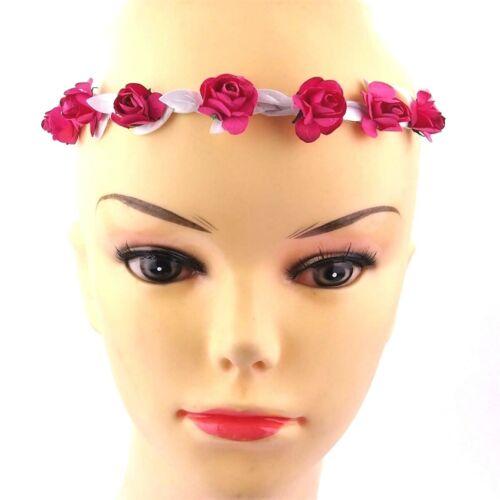Haarband geflochten mit pinken Rosen Blumen Stirnband Kopfschmuck Trachten Damen