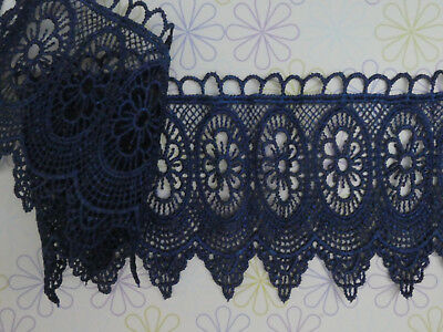 5CM/'S WIDE APPROX. GUIPURE BLACK CROCHET TRIM SOLD PER METRE