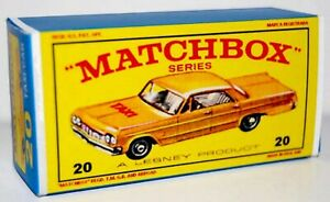Matchbox-Lesney-No-20-CHEVROLET-TAXI-CAB-Repro-empty-box-style-E