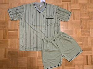 TOP Herren Schlafanzug Shorty Pyjama Gr. L bis 3XL hellgrün gestreift NEU