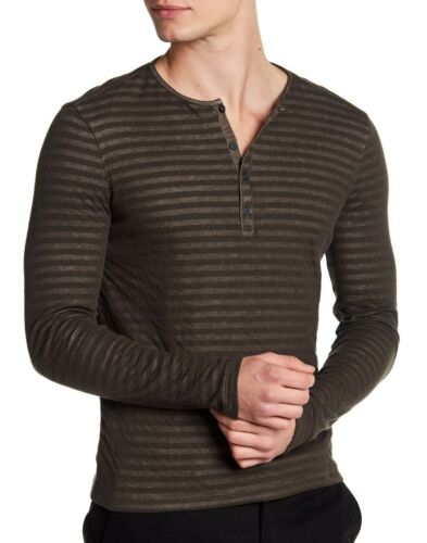John Varvatos Star gestreepte lange mouw Henley Branch shirt en Olive omgekeerd met Usa BWdCrexo