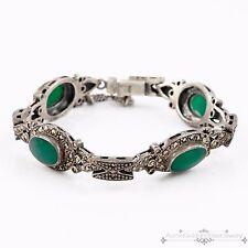 Antique Vintage Deco Sterling Silver Green Onyx & Marcasite Studded Bracelet!
