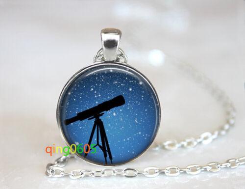 Telescope Star Gazing glass dome Tibet silver Chain Pendant Necklace wholesale