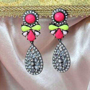 Boucles d/'Oreilles Clips Fleur Rose Feuille Vert Rouge Soirée Mariage Cadeau