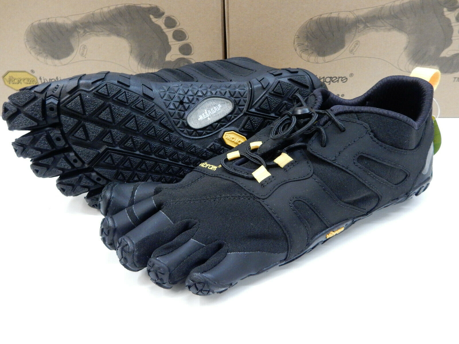Vibram FiveFingers Womens V-Trail 2.0 Black Yellow Size Eu 38