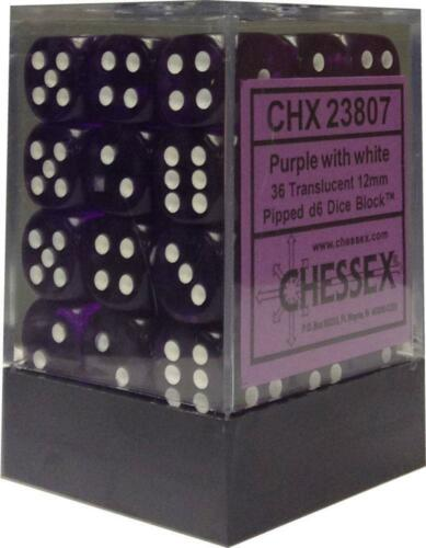Chessex Dice d6 Sets Purple w// White Translucent 36 12mm Six Sided Die CHX 23807