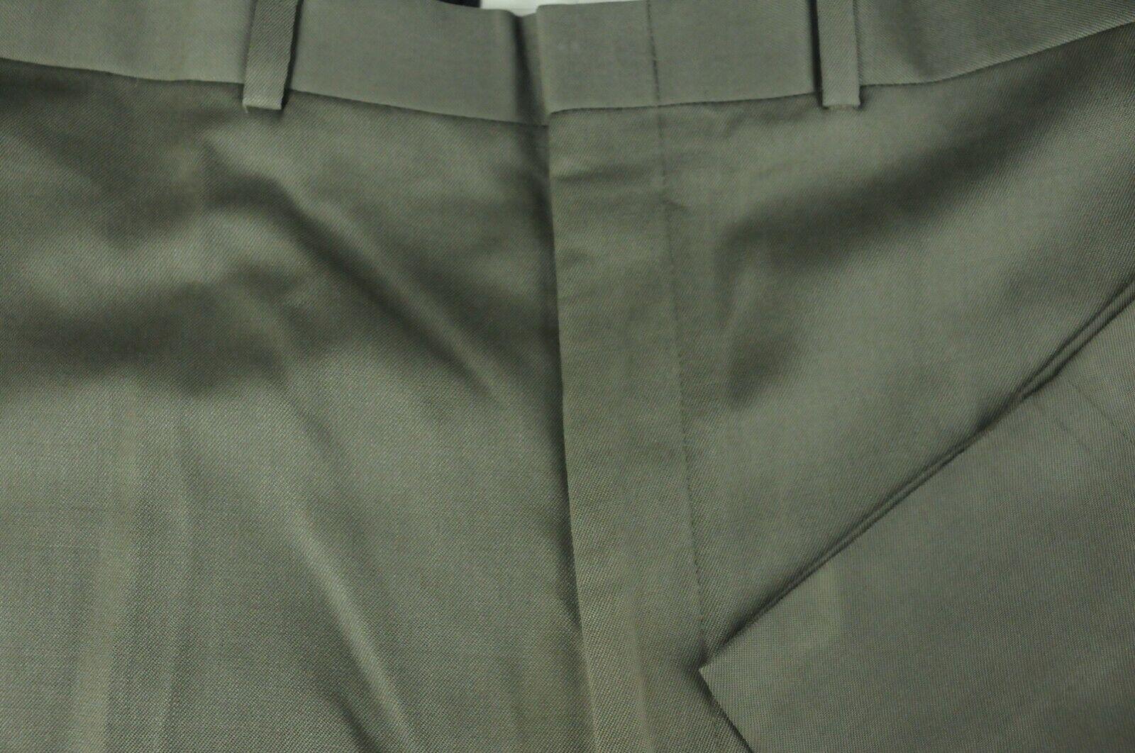 Brooks Bredhers 346 Men's Olive Green Wool Flat Front Dress Pants 44 x 28