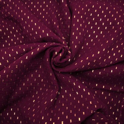 Gold Dash DOUBLE GAUZE Cotton Lawn MUSLIN Dressmaking Fabric OEKO-TEX