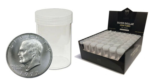 5 Max Premium Silver Dollar Round Clear Plastic Coin Holder Storage Tubes