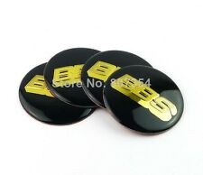 4x Sticker BBS Black Gold Logo Wheel Center Hub Caps Badge 65 MM High Quality