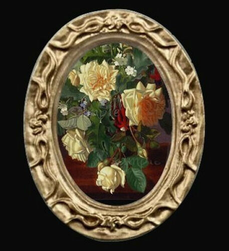 Oval Floral Yellow Roses Miniature Dollhouse Picture