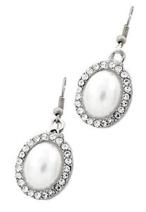Bridal Party Small Oval White Pearl Crystal Frame Earrings Sterling Silver Hooks