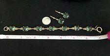 Catherine Popesco ~ Clover Green & White Swarovski Crystal Bracelet & Earrings