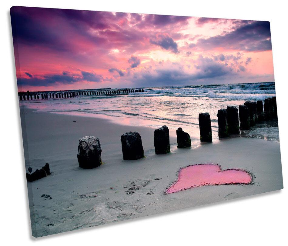 Beach Heart Sand Sunset SINGLE CANVAS WALL ART Framed Print