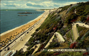 Bournemouth-England-postcard-1960-General-view-to-the-East-Cliff-an-Zig-Zag