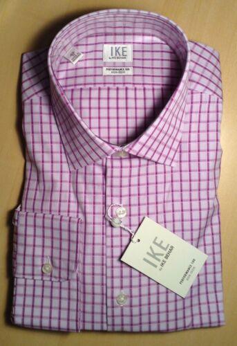 Ike Behar Pink//Lilac Performance 100 No-Iron Dress Shirt Sz 16 1//2-33 Sleeve