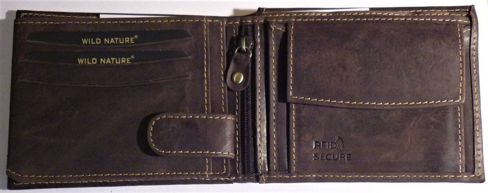 + Wild Nature Geldbörse aus Büffelleder RFID-Schutz Dunkelbraun D305C