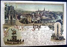 SWITZERLAND~SCHWEIZ~1897 GRUSS aus BERN~Denkmal Rudolf v. Erlach~+++~ LITH.