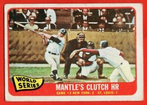 1965 Topps #134 Mickey Mantle VG-VGEX CREASE World Series New York Yankees HOF