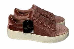 Womens-BIG-BUDDHA-Blush-Pink-Velvet-Ribbon-Laces-Sneakers-Shoes-Size-7