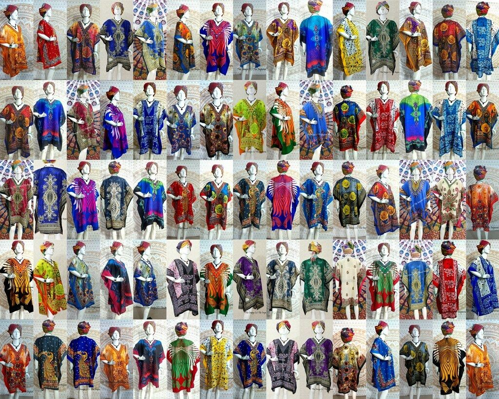 100 Pc Wholesale Assorted Women Kaftan Short Nightwear Beach Tunic Maxi-Dress
