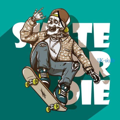 2x  Skateboarding Skull Vinyl Stickers Decals for Car Laptop Skateboard