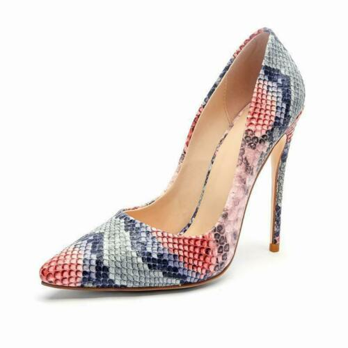 Details about  /Vintage Womens Pointy Toe Leather High Heels Stilettos Snake Party Shoes Pumps