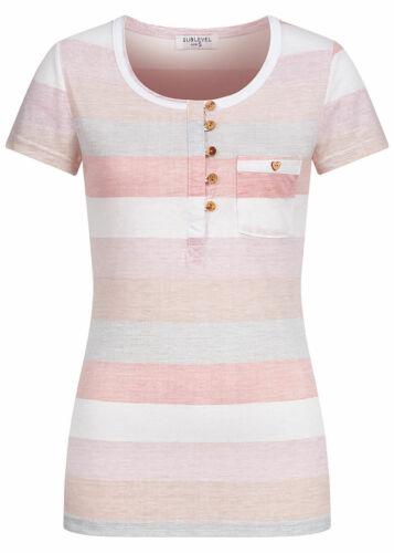 28/% OFF B20063264 Damen Eight2Nine T-Shirt Kurzarm Shirt Streifen Muster grau