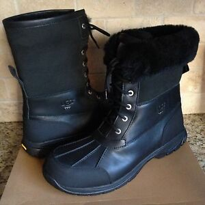 5c24640cacb Details about UGG Butte Black Waterproof Leather Sheepskin Winter Snow  Boots Size US 15 Mens