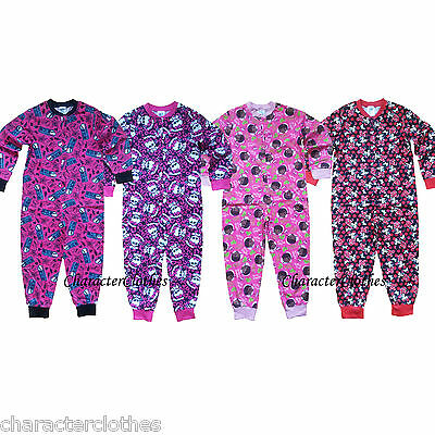 Girls CHARACTER Sleepsuits Kids &Toddlers Onesies Cartoon Nightwear Age 1-10 Yrs