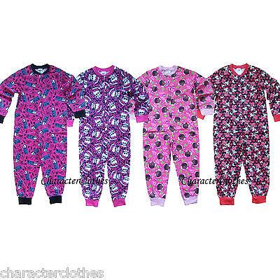 Girls CHARACTER Sleepsuits Kids &Toddlers Onesies Cartoon Nightwear Age 1-10 Yrs