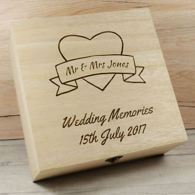 Onesto Personalised Wedding Ricordi Ricordo Scatola, Scatole Di Legno, Data Matrimonio Anniversario-