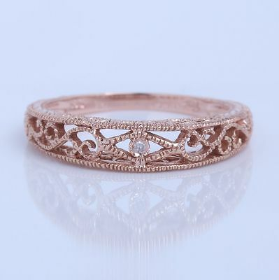 Solid 14k Rose Gold Engagement Wedding Engraving Band Vintage Antique Jewelry