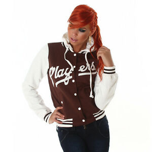 NEW-SEXY-PLAYERS-HOODED-COLLEGE-BASEBALL-SWEAT-JACKET-6-8-10-12-BROWN