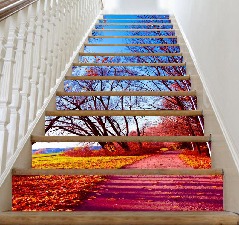 3D Field Branches Stair Risers Decoration Photo Mural Vinyl Decal Wallpaper CA