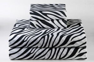 USA Bedding Item 100% Cotton 400 Thread Count Zebra Print In USA Size
