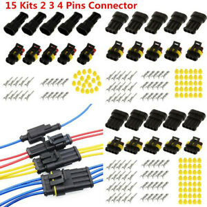 IP68-Waterproof-Car-Electrical-Cable-Wire-2-3-4-Pins-Connector-Plug-Socket-15Pcs