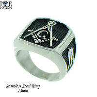 Masonic Men's Stainless Steel Solid Mason Ring Style 692