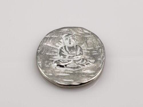 """Buddha Pocket Good Luck Metal Pewter Token 1/"""" x 13//16/"""""""