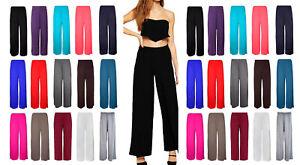 New-Ladies-Plain-Palazzo-Trousers-Womens-Flared-Wide-Leg-Trousers-Pants-Leggings
