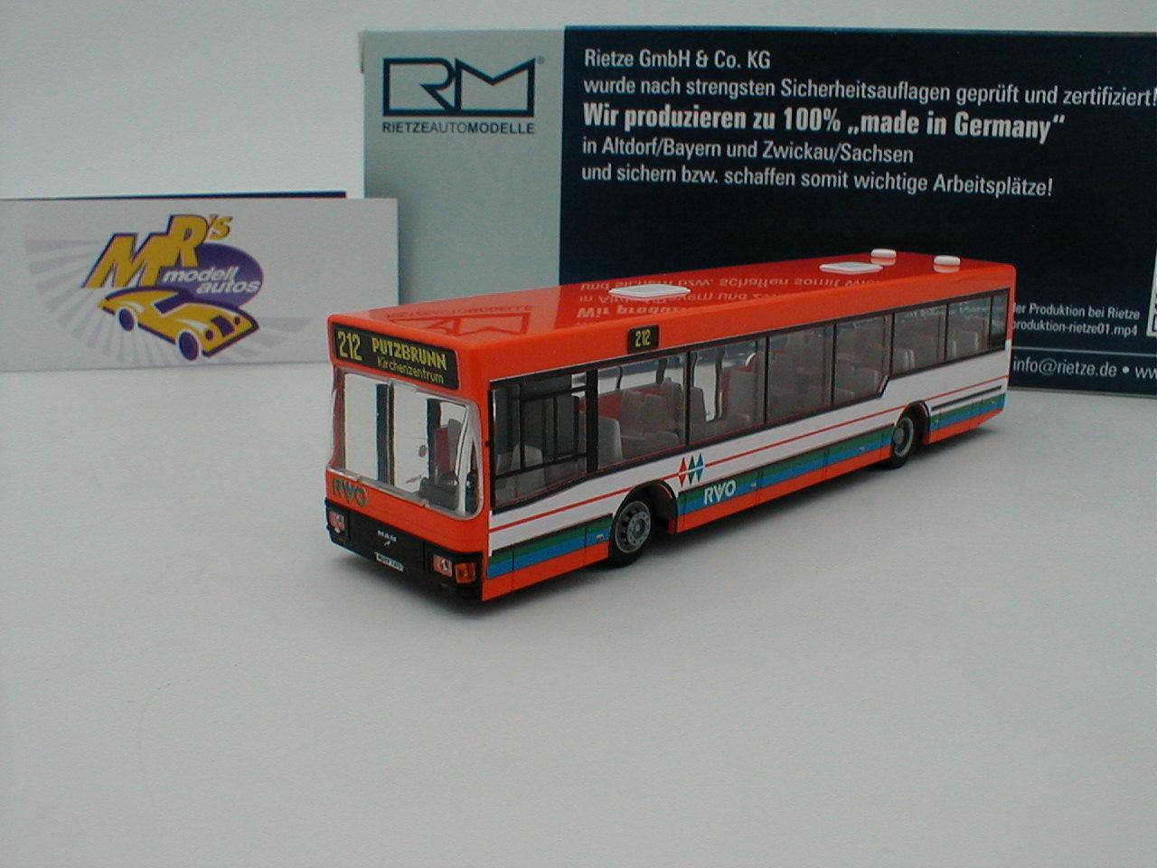 Rietze 75018 - MAN NL 202-2 orange-white der   RVO Oberhausen   1 87 Neuheit