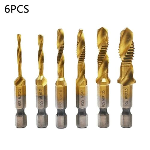 Drill Bit Taps and Dies Set Drill Bits Thread Spiral Screw Hex Shank Hand Tools