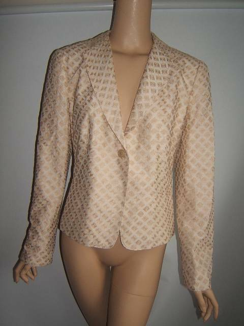 ARMANI COLLEZIONI 10 Sexy oro Beige Con Textura  De Lujo Chaqueta Blazer para Mujer  mejor moda