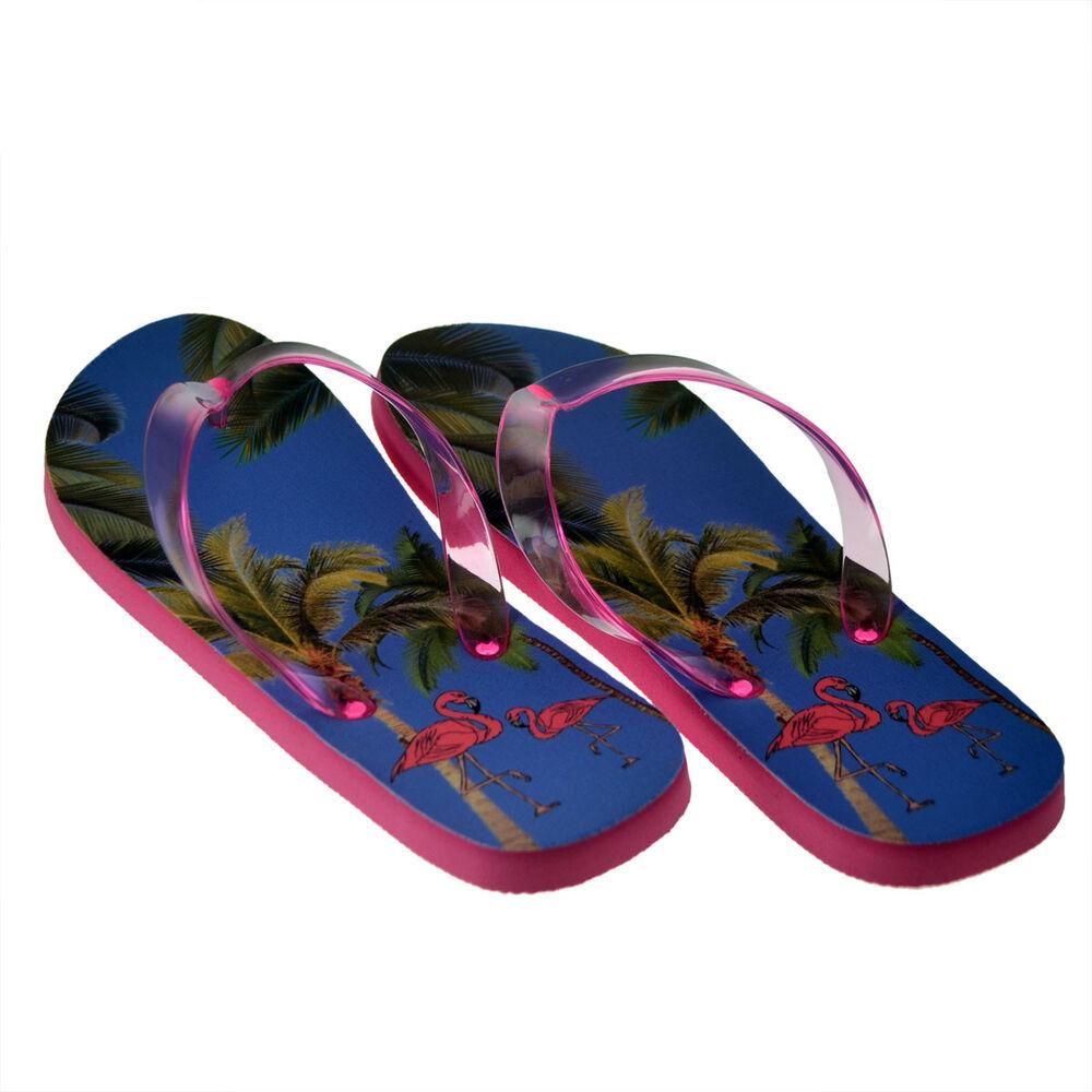 100% De Qualité Femmes Moyen Flamant Rose Tongs Sandales Plage Chaussures Tongs Cadeau Attrayant Et Durable