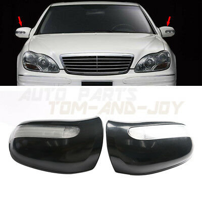 For Mercedes W215 W220 Driver Left Black Door Mirror Housing w// Turn Signal OEM