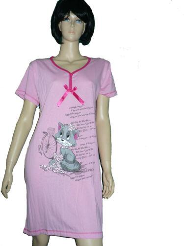 Damen Nachthemd,Sleepshirt 100 /% Baumwolle mit kurzem Arm
