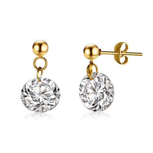 Women/'s AAA Zircone Cubique placage or Dangle Boucles d/'oreilles Titanium Steel Ear Stud Bijoux Nouveau