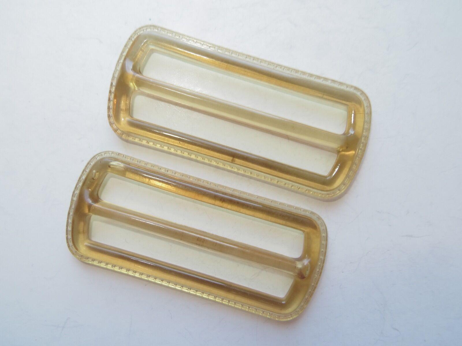 1960s Vintage Med Rectangle Applejuice Yellow Ladies Belt Buckles-6.5cm x 2.8cm